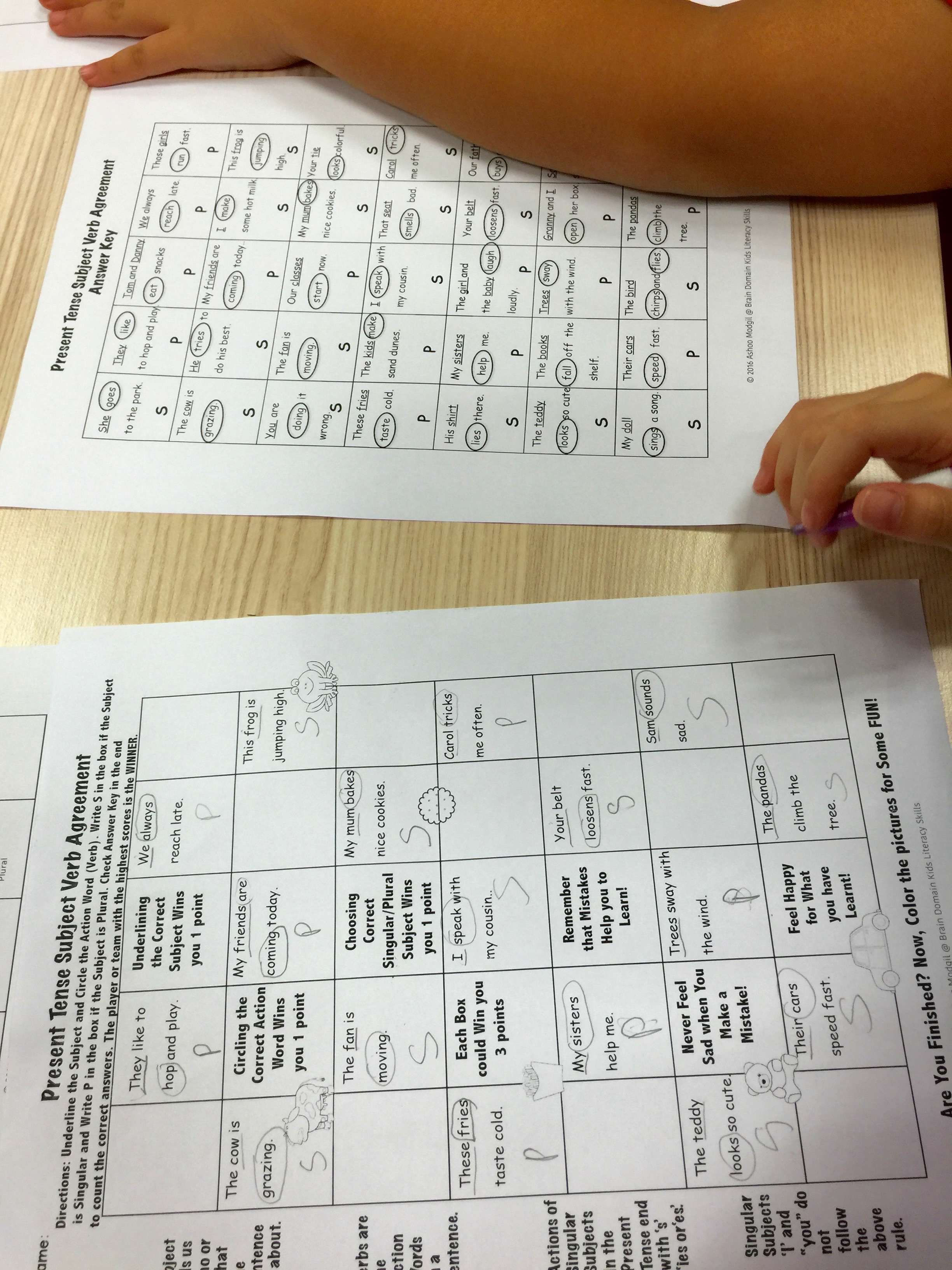 Subject Verb Agreement Organizers